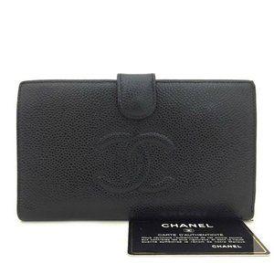 Auth Chanel Cc Logo Black Caviar Skin #N77869X33
